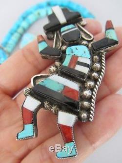 HUGE Vintage Zuni Turquoise Inlay Rainbow Man Kachina Dancer Sterling Pin