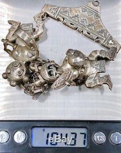 Handmade Bennie Ration Koshari Kachina Pins Navajo Sterling Silver Necklace