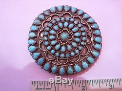 Handmade Navajo Sterling Silver Turquoise Cluster Pin 2 7/8 67 stones