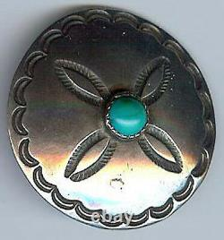Handsome Vintage Navajo Indian Stamped Silver & Turquoise Pin Brooch