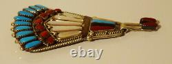 Harrison Yazzie Navajo Old Pawn Sterling Statement Pin Brooch Turquoise Coral