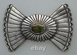 Harry Morgan Navajo Sterling Silver & Turquoise Concho Shaped Southwest Pin