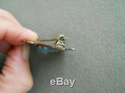 Harvey Era Navajo Turquoise Stamped Sterling Silver Thunderbird Pin / Brooch
