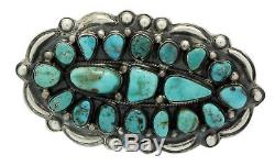 Henry Sam, Pin, Morenci Turquoise, Cluster, Sterling Silver, Navajo Made, 3.4 in