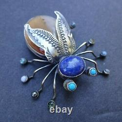 Herbert Ration NAVAJO Hand-Stamped Sterling Silver AMBER INSECT Bug PIN/BROOCH