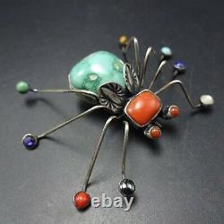 Herbert Ration NAVAJO Sterling Silver TURQUOISE SPIDER Arachnid Gem PIN/BROOCH