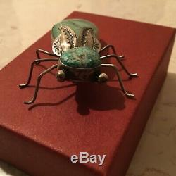 Herbert Ration Turquoise & Sterling Bug Pin Native American