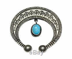 Herman Smith, Pendant, Kingman Turquoise, Stamping, Navajo Handmade