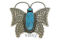 Herman Smith, Pin, Pendant, Kingman Turquoise, Butterfly, Silver, Navajo, 3'