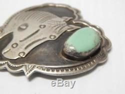 Hi Qlty Navajo Sterling Silver Turquoise Horse Pin Albert Cleveland Xlnt Gift