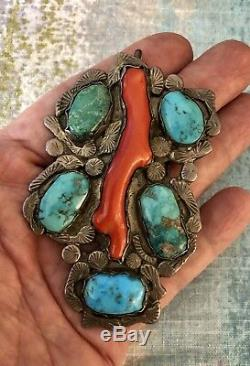 Historic Dan Simplicio Zuni Pin/Pendant ca 1940's, Bisbee Turquoise Red Coral