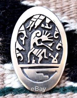 Hopi Darren Silas Sterling Silver Overlay Kokopelli Pin Pendant