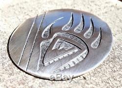 Hopi Vintage Sterling Silver Overlay Bear Paw Pin Pendant, Hallmarked