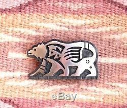 Hopi Vintage Sterling Silver Overlay Bear Pin, Watson Howanie