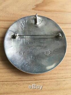 Hopi sterling silver overlay horned kachina pendant /pin Hopi Craft Guild