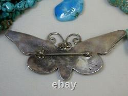 Huge 3.5 ZUNI Abalone TURQUOISE Onyx STERLING Silver BUTTERFLY Pin PENDANT