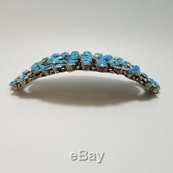 Huge! Angela Lee, Navajo, Sterling Silver Turquoise Brooch, Cowboy Hat Pin