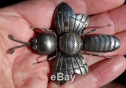 Huge JOE EBY Old Navajo Design Ornate Stampwork BEETLE INSECT BUG Brooch Pin