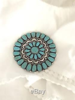Huge Native American Sterling Silver Turquoise Cluster Pin Pendant Signed LWMS