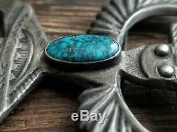 Huge Navajo Knife Wind Kachina Sterling Silver Turquoise Pin Brooch 26.2 Grams