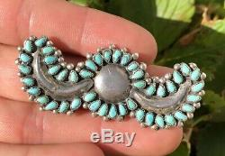Huge Old Pawn Zuni Petit Needle Point Turquoise Pin Brooch 2 1/2