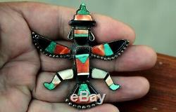 Huge Old Pawn Zuni Sterling Silver KNIFEWING Brooch Pin Turquoise Onyx Coral