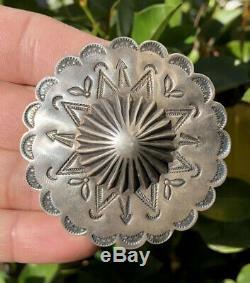 Huge Old Red Harvey Era Navajo Stamped Sterling Silver Bullet Concho Pin Brooch