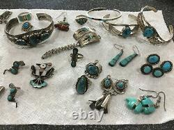 Huge Sterling Native American Turquoise Lot Cuffs Pin Rings Earrings Box Watch B