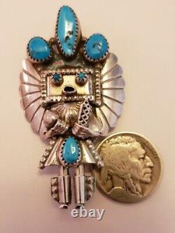 Huge Vintage Native American Sterling Silver Kachina Pin/Pendant Smallcanyon