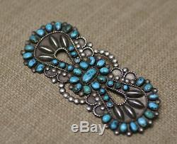 Huge Vintage Native American Zuni Sterling Silver Turquoise Pin Brooch