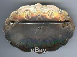 Huge Vintage Navajo Indian Stamped Designs Silver Green Turquoise Pin Brooch