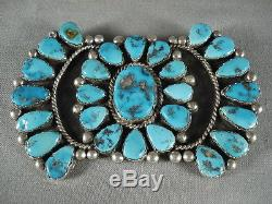 Huge Vintage Navajo Turquoise Silver Pin