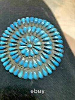 Huge Vintage Navajo Turquoise Sterling Silver Cluster Circle Pin Brooch