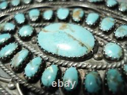 Huge Vintage Navajo Turquoise Sterling Silver Cluster Pin Old