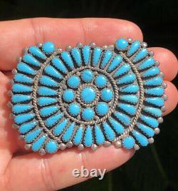 Huge Vtg Navajo Navajo Sterling Silver Petit Point Cluster Turquoise Pin Brooch