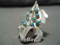 Important Ben Yazzie Vintage Navajo Coral Turquoise Sterling Silver Pin