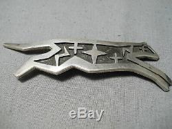 Important Vintage Hopi Duane Maktima Sterling Silver Cat Pin Native American