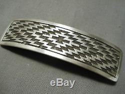 Important Vintage Navajo Dan Jackson Sterling Silver Pattern Hair Barrette Clip