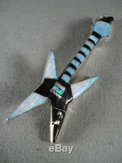 Incredible Vintage Navajo Opal And Onyx Electgric Guitar Silver Pin