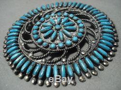 Intricacy Galore! Vintage Zuni/ Navajo Needle Turquoise Silver Sun Pendant Pin