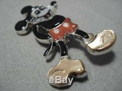 Intricate! Zuni Turquoise Coral Navajo Micky Sterling Silver Mouse Pendant Pin