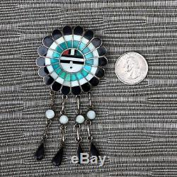 J. D. MASSIE Native ZUNI Multi-Stone Kachina SunFace Silver Pendant Pin Brooch