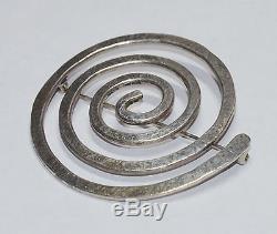 JAN LOCO Apache Sterling Swirl Pin 925 Silver Native American Broach Indian NICE