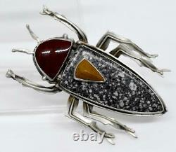 JD signed AMAZING Sterling Silver BUG BEETLE INSECT Native American Stone Brooch