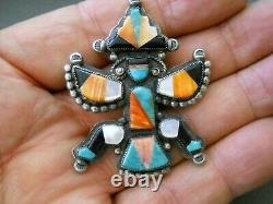 JERRY COWBOY Native American Stone Inlay Sterling Silver Knifewing Kachina Pin