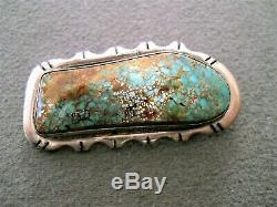 JOHN DELVIN Southwestern Native American Turquoise Sterling Silver Pin / Brooch