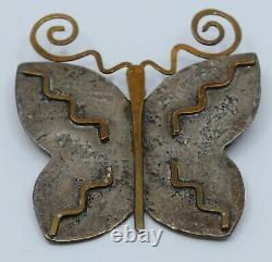 Jan Loco Apache, Native American tufa cast sterling silver butterfly pin, brooch