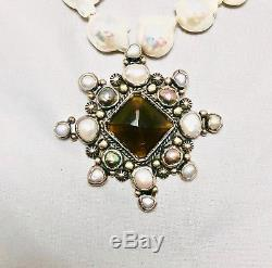 Joan Slifka Baroque Necklace With Multi-stone Pendant-pin Approximately 18