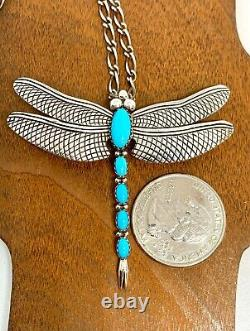 Joe Delgarito Navajo Sterling Silver Turquoise Dragonfly Pin Pendant Necklace