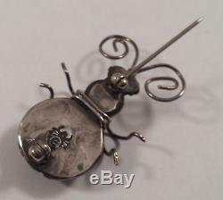 Joe Eby Vintage Anglo Indian Sterling Silver Dragon's Breath Bug Pin Brooch